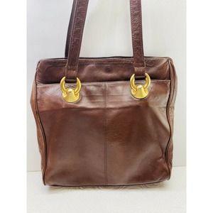 Perlina New York Brown Tote Shoulder Bag Leather